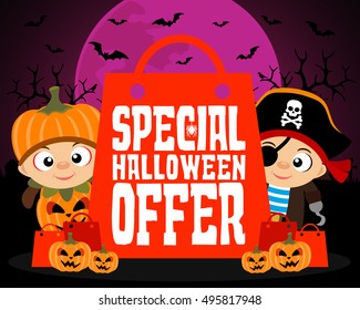 Special Halloween offer design background.Vector illustration