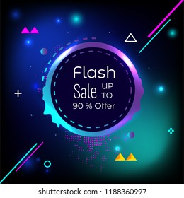 special Happy Flash sale up to 90% offer glow background creative design