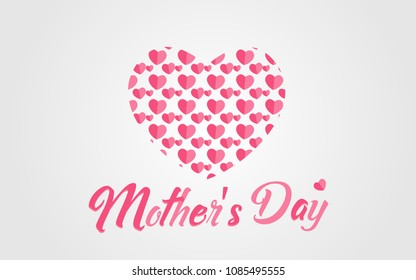 Special happy mother's day lettering with Love heart icon illustration full pink colour vector