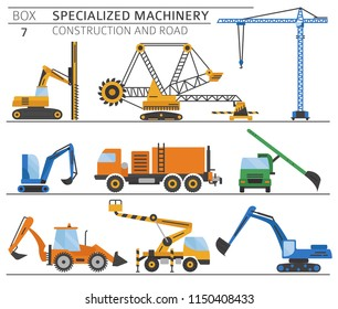 Special industrial construction and road machine coloured vector icon set isolated on white. Illustration