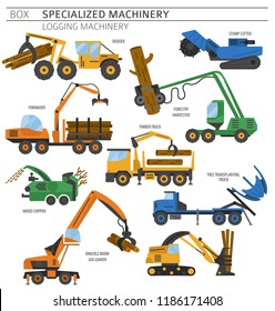 Special industrial logging machine colour vector icon set isolated on white. Illustration