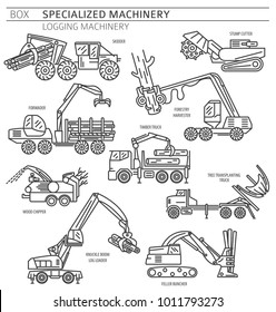 Special industrial logging machine linear vector icon set isolated on white. Illustration