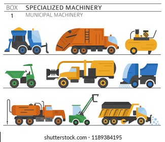 Special industrial road and municipal machine. Colour flat vector icon set isolated on white. Illustration