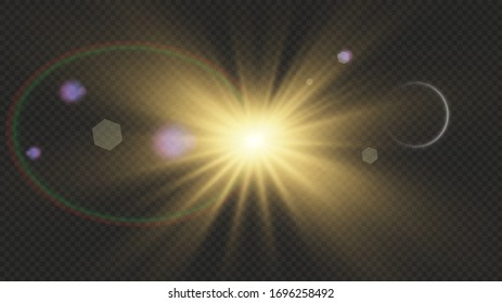 Special lens flare light effect.White glowing light explodes on a transparent background. with ray.  Transparent shining sun, bright flash.