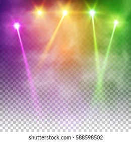 Special Light Effects Realistic Vector Bright Projectors For Scene Lighting Isolated On Plaid Backdrop