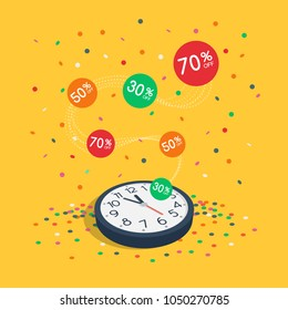 Special limited time sale symbol with wall watch, flying colorful labels and flying confetti isolated on yellow background. Easy to use for your design with transparent shadows.