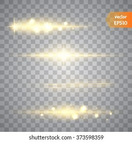 Special line flare light effects for design and decor. Golden lights. Vector