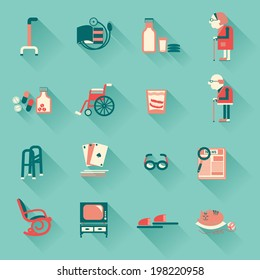 Special medical objects for pensioners life.Vector icons