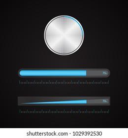 special metallic volume button with chrome texture, vector design, eps10
