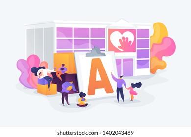 Special needs children rehabilitation school. Social workers, educators. Autism center, treatment of autism spectrum disorder, kids autism help concept. Vector isolated concept creative illustration