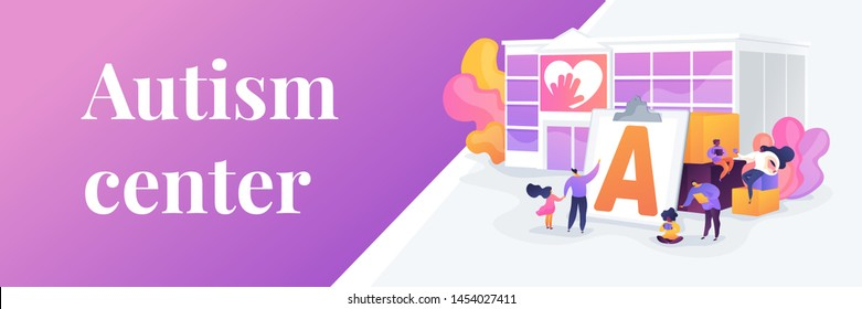 Special needs children rehabilitation school. Social workers, educators. Autism center, treatment of autism spectrum disorder, kids autism help concept. Header or footer banner template with copy