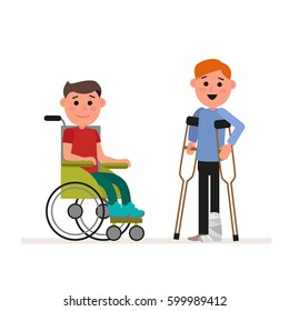Special needs or handicapped children. Boy is sitting in a wheelchair. Child is standing with crutches. Flat character isolated on white background. Vector, illustration EPS10.