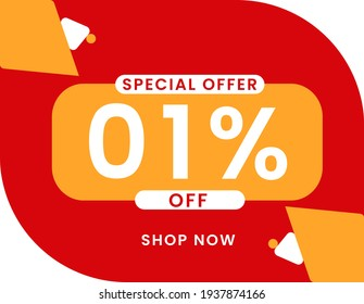 Special offer 1 percent discount banner, Sale and special offer banner. 1% off shop now