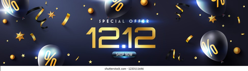 Special offer 12.12 Promotion Poster or banner with black balloons and golden confetti for Retail,Shopping or 12th December Promotion template in golden and black style.Vector illustration EPS10