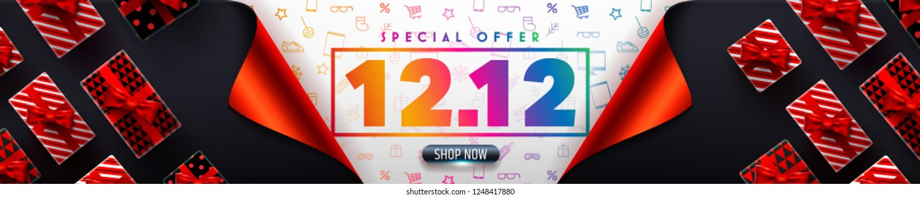 Special offer 12.12 Promotion Poster or banner for Retail,Shopping or 12th December Promotion template in golden and black style.Vector illustration EPS10