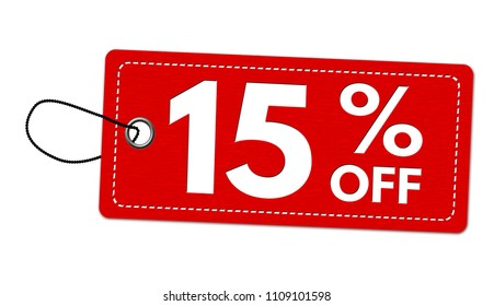 Special offer 15% off label or price tag on white background, vector illustration