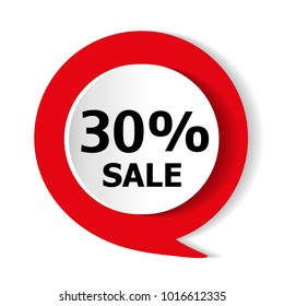 Special offer - 30% discount on the goods. Vector red icon.