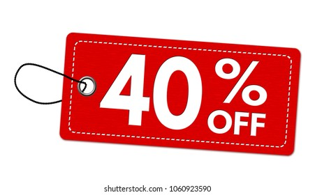 Special offer 40% off label or price tag on white background, vector illustration
