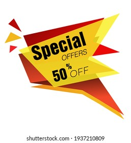 Special Offer 50% 0ff price tag vector format ,red and yellow.