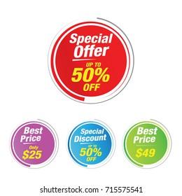 Special offer 50% Off Labels, Sales tagsl, Vector illustration.