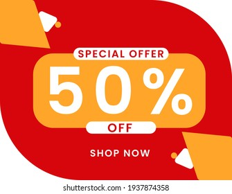 Special offer 50 percent discount banner, Sale and special offer banner. 50% off shop now