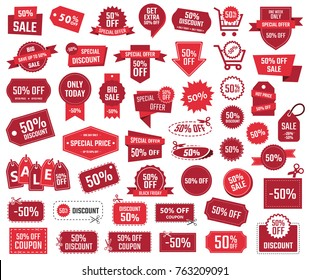 special offer 50%, sale banners and coupons, 50 percent off discount