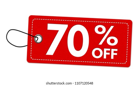 Special offer 70% off label or price tag on white background, vector illustration