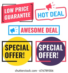 Special offer, awesome deal, hot deal, low price guarantee. Badge, icon, logo set. Flat vector illustrations on white background. Can be used business company.