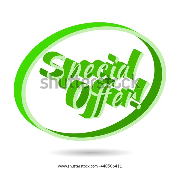 Special offer banner, flyer for Sale. Bright green colored sale banner inside in 3D oval. Vector illustration. Isolated on white background.