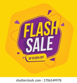 Special offer banner, hot sale, big sale, flash sale, sale banner vector, purple and orange vector banner