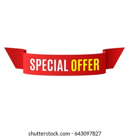 Special offer banner. Red ribbon. Vector illustration.
