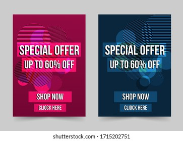 Special offer banner set modern geometric shapes abstract design template.Seasonal sale discount end of season background.Can be editable text.