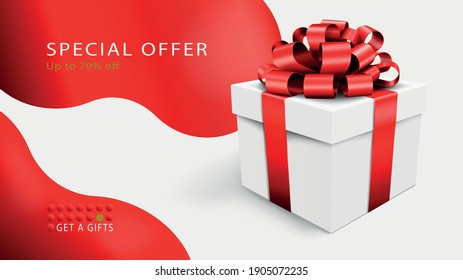 Special offer banner . Vector illustration of a white box with a ribbon and a large bow on a background with abstract spots.
