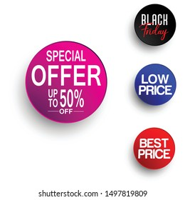 Special offer , best price, black Friday , low price tag designs as a rounded buttons - vector
