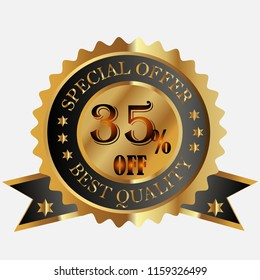 special offer best quality 35 % off discount banner vector illustration icon