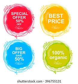Special Offer, Big Offer & Best Price Marks, Organic. Vector hand drawing label for organic product. Sunny summer splash, sketch elements. Natural food logo element. Sketch food and drink sticker.