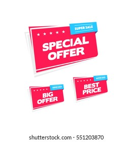 Special Offer, Big Offer and Best Price Labels
