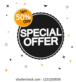 Special offer, big sale banner design template, discount tag, up to 50% off, vector illustration