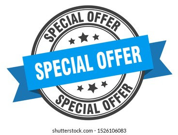 special offer black band label. special offer blue ribbon sign