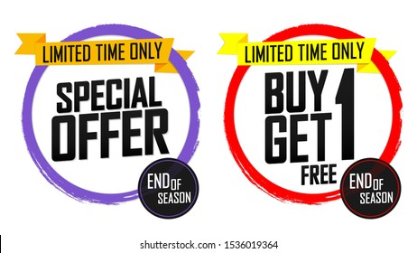 Special Offer, Buy 1 Get 1 Free, sale banners design template, grunge brush, discount tags, bogo, end of season, vector illustration
