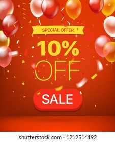 Special offer concept. 10 percent off. Vector illustration