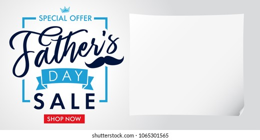 Special offer, Father`s Day sale light banner. Father Day special offer SALE promotion vector calligraphy background