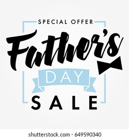 Special offer Father`s Day sale promotion vector design. Father Day special offer SALE banner light