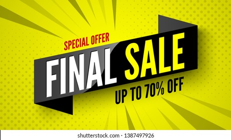 Special offer final sale banner, up to 70% off. Vector illustration.