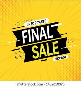 Special offer final sale banner with on yellow abstract background, up to 70% off. Vector illustration.