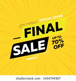 Special offer final sale banner on yellow background, up to 70% off. Vector illustration.