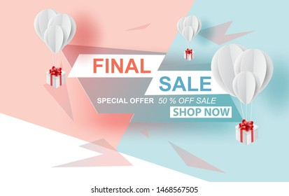 Special offer final sale banner with balloons gift box on pastel sweet colorful background, up to 50% off.Creative design minimal paper art and craft.Space for holiday your text. Vector illustration.