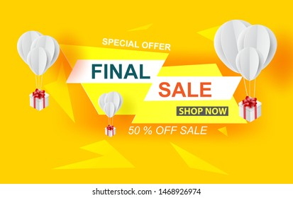 Special offer final sale banner with balloons gift box on pastel yellow color background, up to 50% off.Creative design minimal paper art and craft.Space for holiday your text. Vector illustration.