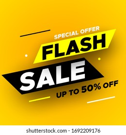 Special offer flash sale banner with shadow on yellow background, up to 50% off. Vector illustration.