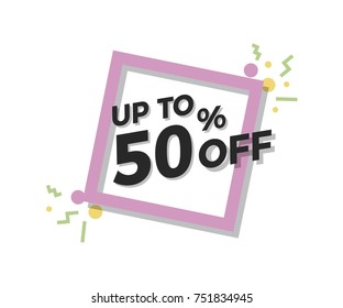 Special offer flat geometric design. Vector modern retro red tag design. Discount offer price label, symbol with 50% OFF sale sticker.